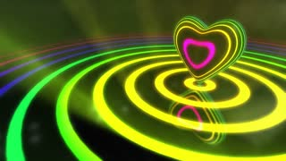 Shiny Funky Colourful Heart With Glowing Stripes and Rings | Flashing Colors and Strobe Light | Seamless Loop Video Backdrop | Motion Background | Full HD 1920x1080 | All Colors | Multicolored Edition