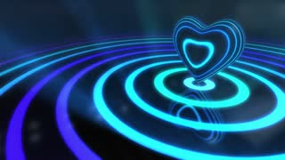 Shiny Funky Colourful Heart With Glowing Stripes and Rings | Flashing Colors and Strobe Light | Seamless Loop Video Backdrop | Motion Background | Full HD 1920x1080 | Blue Cyan Purple