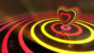 Shiny Funky Colourful Heart With Glowing Stripes and Rings | Flashing Colors and Strobe Light | Seamless Loop Video Backdrop | Motion Background | Full HD 1920x1080 | Pink Yellow Red Orange Magenta