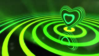 Shiny Funky Colourful Heart With Glowing Stripes and Rings | Flashing Colors and Strobe Light | Seamless Loop Video Backdrop | Motion Background | Full HD 1920x1080 | Shades Of Green and Yellow