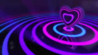 Shiny Funky Colourful Heart With Glowing Stripes and Rings | Flashing Colors and Strobe Light | Seamless Loop Video Backdrop | Motion Background | Full HD 1920x1080 | Violet Purple Indigo Blue