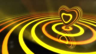 Shiny Funky Colourful Heart With Glowing Stripes and Rings | Flashing Colors and Strobe Light | Seamless Loop Video Backdrop | Motion Background | Full HD 1920x1080 | Yellow Orange