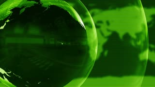 Shiny Spinning Metal Globe Full HD Motion Background Green