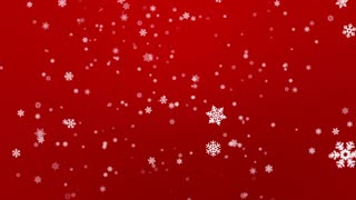 Snow Flakes Falling Seamless Loop Red Motion Background