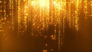 Star Streaks Falling from Heaven | Glowing Particles and Orbs Dropping from Sky | Lens Flares Stars Dropping From Above Motion Background Seamless Loop Video Backdrop Golden Brown Gold Orange Yellow