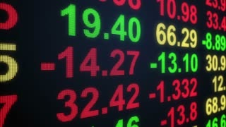 Stock Market Profit Loss Results Display  Horizontally Scrolling on Led Screen with Red Green Text Version 2 Seamless Loop Full HD