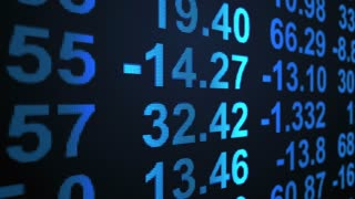 Stock Market Profit Loss Results Display Vertically Scrolling on Led Screen with Blue Text Version 1 Seamless Loop Full HD