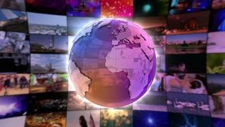 Stylish Shiny Colorful Globe Spinning in front of A moving Wall Of Screens | Seamless Loop | Motion Background | Full HD 1920x1080 | Purple Violet Golden Orange Blue