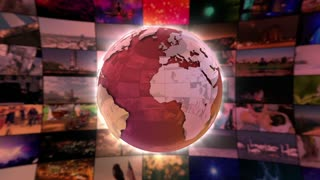 Stylish Shiny Colorful Globe Spinning in front of A moving Wall Of Screens | Seamless Loop | Motion Background | Full HD 1920x1080 | Red Maroon Golden Orange