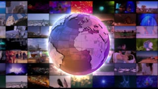Stylish Shiny Colorful Globe Spinning in front of A moving Wall Of Screens | Version 2 | Seamless Loop | Motion Background | Full HD 1920x1080 | Purple Violet Blue Golden Orange