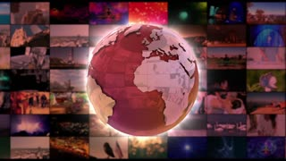 Stylish Shiny Colorful Globe Spinning in front of A moving Wall Of Screens | Version 2 | Seamless Loop | Motion Background | Full HD 1920x1080 | Red Maroon