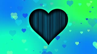 Cute Little Hearts Romantic Sweet Colorful Particles Looping 4K Ultra HD Motion Background Blue Cyan Green Turquoise Cool