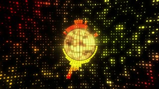 Synchronized Funky Disco Ball Motion Background 4K and Full HD Orange Yellow