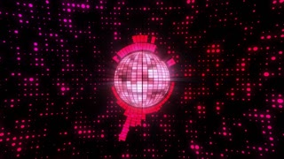 Synchronized Funky Disco Ball Motion Background 4K and Full Red Pink