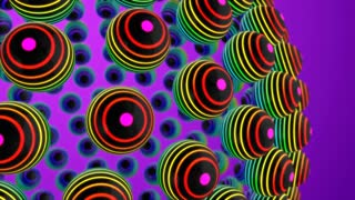 Vibrant Balls with Colorful Stripes or Rings Seamless Looping Motion Background Purple Violet Indigo