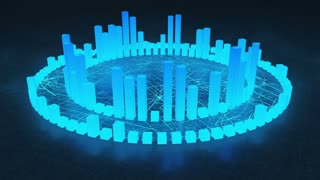 Illuminated and Glowing 3d Audio Amplitude Bars Arranged in Double Circular Formation | Spinning Sound Visualization | Seamless Looping Motion Background | Cyan Blue