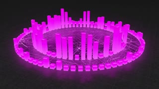 Illuminated and Glowing 3d Audio Amplitude Bars Arranged in Double Circular Formation | Spinning Sound Visualization | Seamless Looping Motion Background | Color Changer