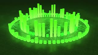 Illuminated and Glowing 3d Audio Amplitude Bars Arranged in Double Circular Formation | Spinning Sound Visualization | Seamless Looping Motion Background | Green
