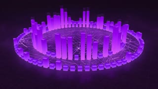 Illuminated and Glowing 3d Audio Amplitude Bars Arranged in Double Circular Formation | Spinning Sound Visualization | Seamless Looping Motion Background | Purple Violet Indigo
