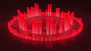 Illuminated and Glowing 3d Audio Amplitude Bars Arranged in Double Circular Formation | Spinning Sound Visualization | Seamless Looping Motion Background | Red