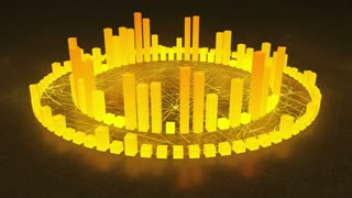 Illuminated and Glowing 3d Audio Amplitude Bars Arranged in Double Circular Formation | Spinning Sound Visualization | Seamless Looping Motion Background | Yellow Orange