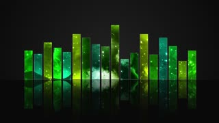 Animated Colorful Cosmic Glass Audio Visualization Bars Version 1 | Crystal Sound Amplitude Volume Equalizer With View of Space | DCI 4K UHD 4096 X 2304 | Seamless Loop Motion Background | Vibrant Shades of Green