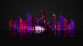 Animated Colorful Cosmic Glass Audio Visualization Bars Version 2 | Crystal Sound Amplitude Volume Equalizer With View of Space | DCI 4K UHD 4096 X 2304 | Seamless Loop Motion Background | Purple Violet Indigo