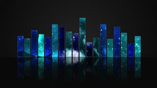Animated Colorful Cosmic Glass Audio Visualization Bars Version 1 | Crystal Sound Amplitude Volume Equalizer With View of Space | DCI 4K UHD 4096 X 2304 | Seamless Loop Motion Background | Blue Cyan Turquoise | Cool Colors | Cool Colours