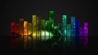 Animated Colorful Cosmic Glass Audio Visualization Bars Version 1 | Crystal Sound Amplitude Volume Equalizer With View of Space | DCI 4K UHD 4096 X 2304 | Seamless Loop Motion Background | 7 Colors of Light Spectrum Rainbow