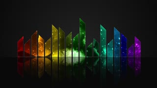 Animated Colorful Cosmic Glass Audio Visualization Bars Version 2 | Crystal Sound Amplitude Volume Equalizer With View of Space | DCI 4K UHD 4096 X 2304 | Seamless Loop Motion Background | 7 Colors of Light Spectrum Rainbow