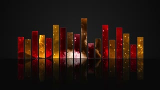 Animated Colorful Cosmic Glass Audio Visualization Bars Version 1 | Crystal Sound Amplitude Volume Equalizer With View of Space | DCI 4K UHD 4096 X 2304 | Seamless Loop Motion Background | Red Orange Yellow Golden Brown | Hot Colors | Warm Colours