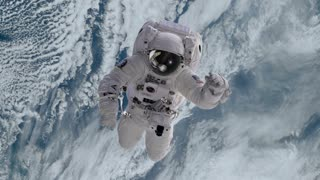Astronaut in Outer Space Slowly Drifting or Falling towards Earth Version 1 Full HD 1920 X 1080