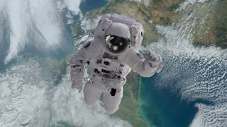 Astronaut in Outer Space Slowly Drifting or Falling towards Earth Version 2 Full HD 1920 X 1080
