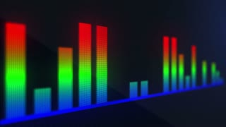 Red Green Blue Audio Bars | RGB Volume Bars On a Pixelated LED Display | Display made of Pixels Displaying Audio Bars in Motion | Music Being Displayed as Audio Bars Seamless Looping Motion Background