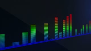 RGB Audio Volume Bars Scrolling On a Pixelated LED Display Screen | Full HD Red Green Blue