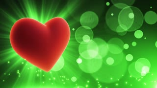 Beating Heart Party Themed Loopable Motion Background with Glowing Particles and Bokeh Green | Happy Anniversary Wishes Backdrop | Wishing Happy Anniversary Background