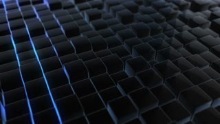 Light Being Obscured by Scrolling Floor made up of Metallic Cubes | Light Coming From Behind The Shiny Metal Cubes with Displacement | Seamless Looping Video Background | 1920x1080 Full HD | Illuminated Blue |