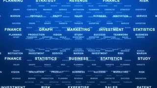 Flying Through Text Phrases Terms and Words | Seamless Looping Animated Motion Video Background | Finance Business Investment Marketing Strategy Corporate | Version 1 | Blue