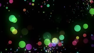 Bokeh Glowing Twinkling Sparkling Particles Circles | Seamless Motion Background | Full HD 1920 X 1080 | Colorful Black
