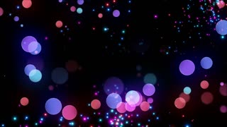 Bokeh Glowing Twinkling Sparkling Particles Circles | Seamless Motion Background | Full HD 1920 X 1080 | Red Pink Blue Purple Magenta Pink Over Black Backdrop