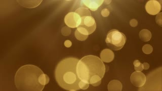 Bokeh Particles Falling and Light Rays From Sky | Seamless Looping Motion Background | Ultra HD DCI 4K 4096x2304 Full HD 1920x1080 | Gold Golden Brown