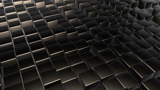Scrolling Floor made up of Metallic Cubes | Shiny Metal Cubes with Displacement | Seamless Looping Video Background | 1920x1080 Full HD | Dark Brown Black Champagne |