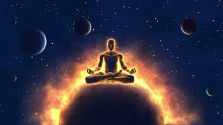Cosmic Meditation Silhouette of a Person Sitting in Lotus Pose and Achieving Enlightenment Spiritual Awakening Meditating Man Self Realization Unlocking Seven Chakras and Opening Third Eye Animation