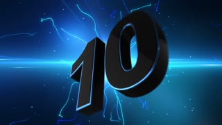 Epic Energetic Top 10 Countdown Numbers List with Flashing Electric Beams in the Motion Background Blue