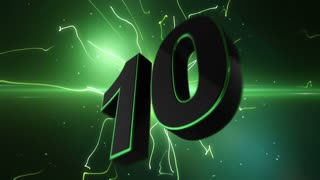 Epic Energetic Top 10 Countdown Numbers List with Flashing Electric Beams in the Motion Background Green