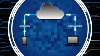 Data Being Uploaded and Downloaded Through Cloud Computing | Cloud Computing Motion Illustration | Seamless Looping Background | DCI Ultra HD 4K 4096x2304 Full HD 1920x1080 | Blue