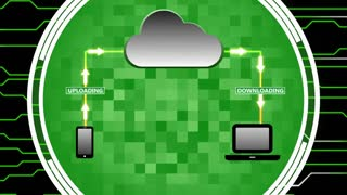 Data Being Uploaded and Downloaded Through Cloud Computing   Cloud Computing Motion Illustration   Seamless Looping Background   DCI Ultra HD 4K 4096x2304 Full HD 1920x1080   Green