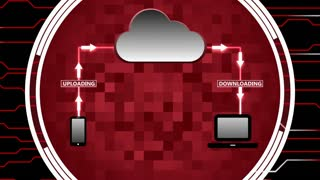 Data Being Uploaded and Downloaded Through Cloud Computing | Cloud Computing Motion Illustration | Seamless Looping Background | DCI Ultra HD 4K 4096x2304 Full HD 1920x1080 | Maroon Red