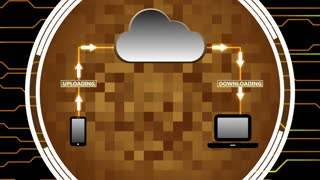 Data Being Uploaded and Downloaded Through Cloud Computing | Cloud Computing Motion Illustration | Seamless Looping Background | DCI Ultra HD 4K 4096x2304 Full HD 1920x1080 | Orange Yellow Brown