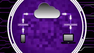 Data Being Uploaded and Downloaded Through Cloud Computing   Cloud Computing Motion Illustration   Seamless Looping Background   DCI Ultra HD 4K 4096x2304 Full HD 1920x1080   Purple